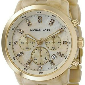 Michael Kors cream resin and yellow gold watch